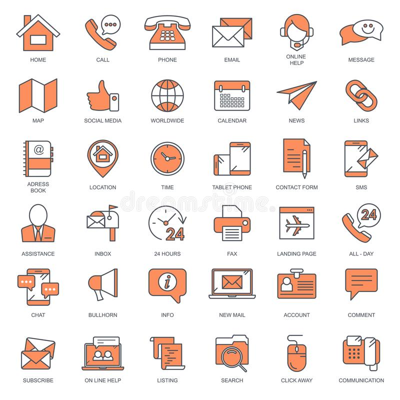 Customer support and contact us outline icon set. Flat vector stock illustration