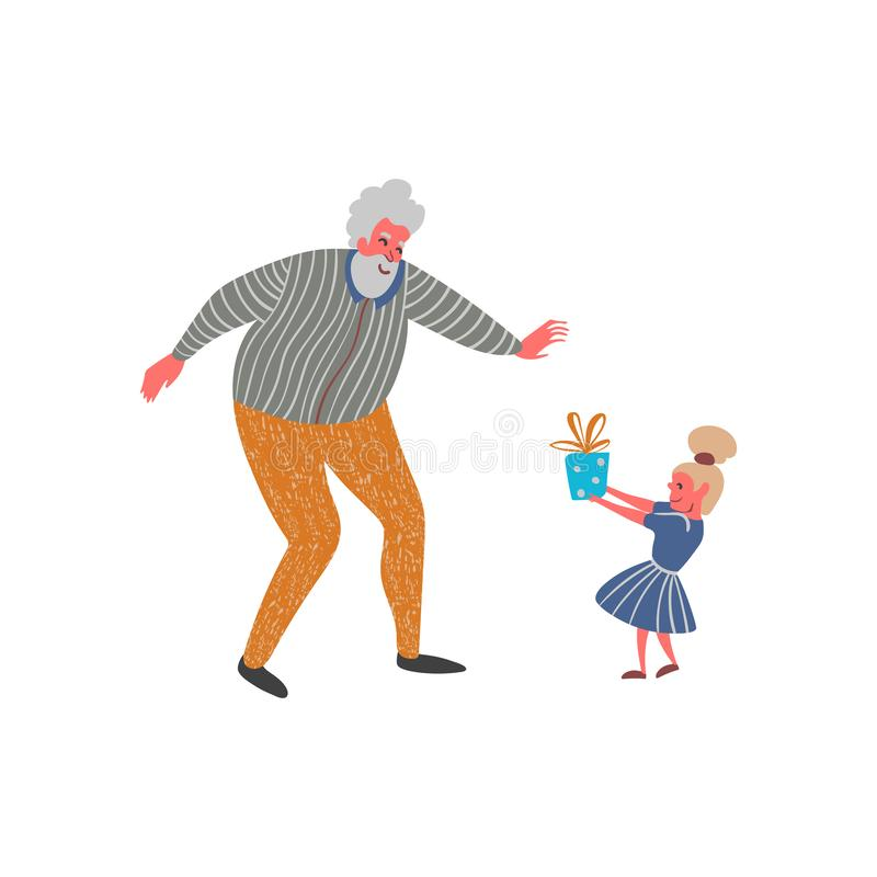 Granddaughter gives present to his grandfather. Funny cartoon characters. Isolated on white background. vector illustration