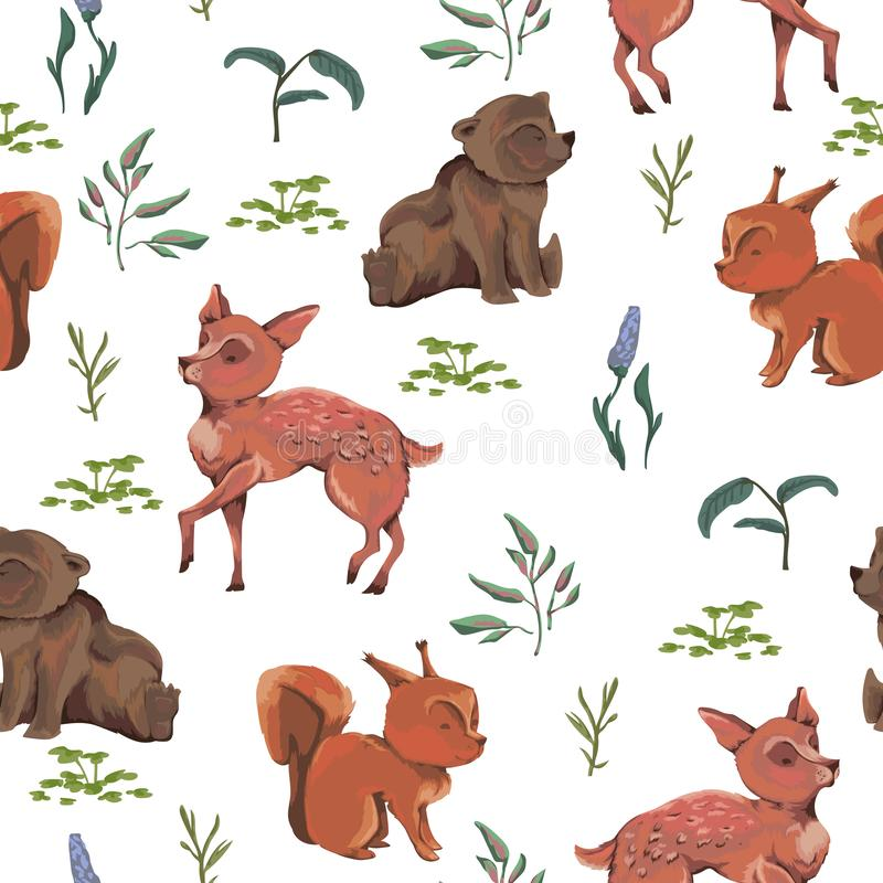 Seamless pattern with teddy bear, baby deer, squirrel, bush, flowers, leaves, berries. Cute cartoon characters. vector illustration