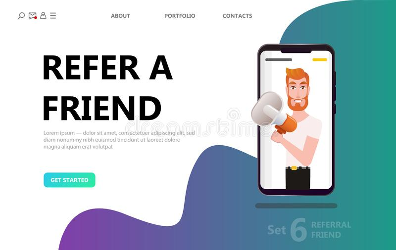 Refer a friend concept, man people shout on megaphone royalty free stock photography