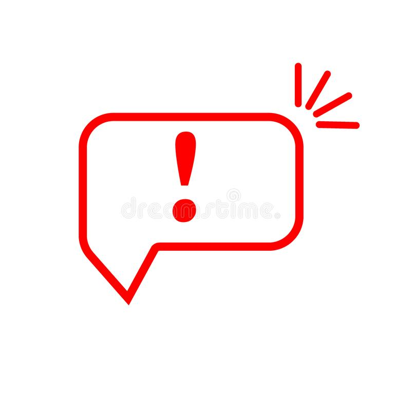 Speech bubble with exclamation mark. Red attention sign icon. Hazard warning symbol. Vector illustration in flat style. Exclamation mark. Exclamation mark royalty free illustration