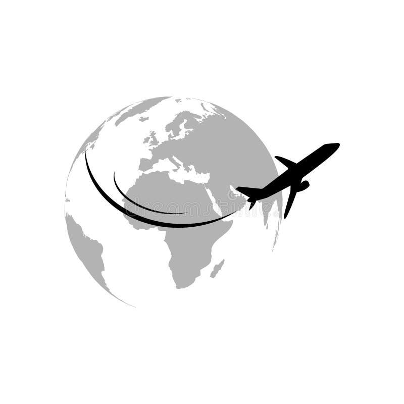 Plane flying around the globe stock illustration