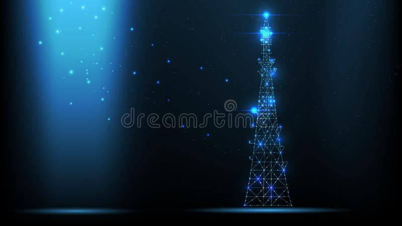 Abstract vector wireframe telecommunications signal transmitter, radio antenna tower from lines and triangles, point connecting ne. Twork on dark background stock illustration