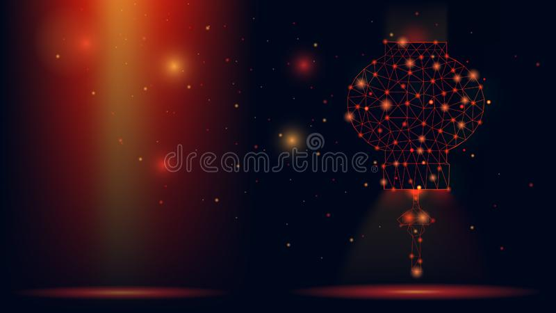 Abstract vector wireframe Chinese lantern . 3d modern illustration on dark red background. Low polygonal mesh art looks like const stock illustration