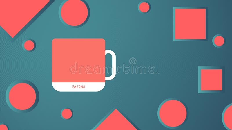 The main color of the year 2019 - Living Coral. Swatch of trend colors. Cup in a cheerful shade, soft and warm. Mockup. Vector ill royalty free illustration