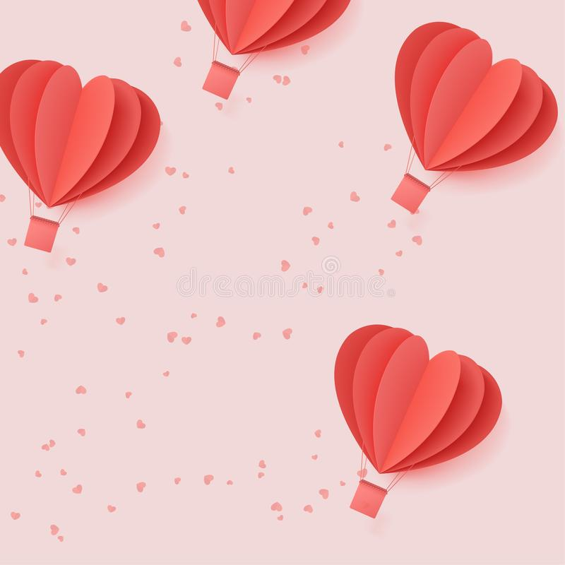 Happy valentines day typography vector illustration design with paper cut red heart shape origami made hot air balloons flying in stock illustration