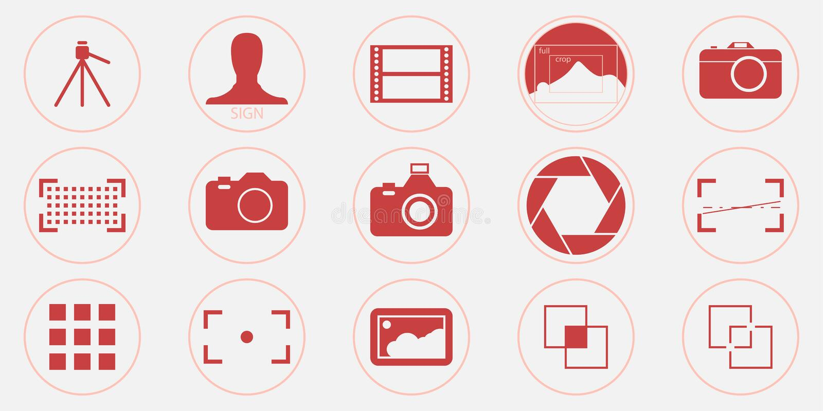Photography icons set - digital camera illustrations - photo & picture sign and symbols in a trendy coral color. Thin line vector. Eps 10 royalty free illustration