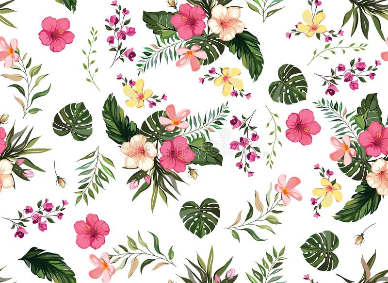 WebFloral tropical seamless pattern background with exotic flowers, jungle leaves, monstera leaf, orchid, bird of paradise flower stock illustration