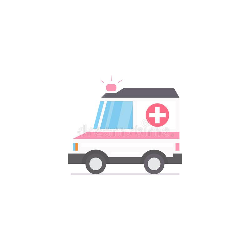 Ambulance car. Stylized vector icon of ambulance. Ambulance car. Stylized vector flat icon of ambulance. Vector illustration stock illustration