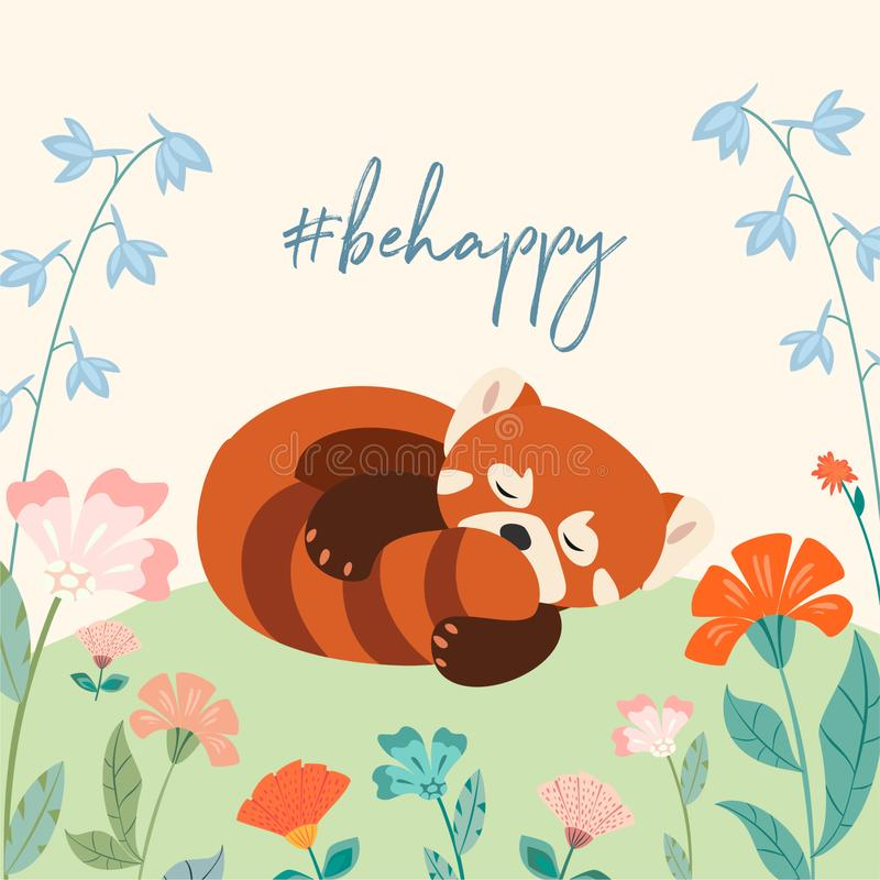 Beautiful spring template with cute sleeping red panda and text. Vector illustration. Can be used for banner, poster, greeting car. D, postcard and print vector illustration