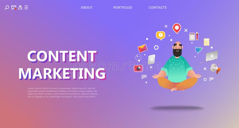 Content marketing landing page. vector illustration
