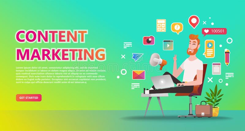 Content marketing landing page vector illustration