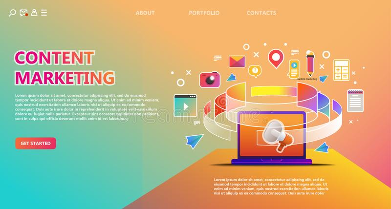 Content marketing landing page with content icons stock illustration