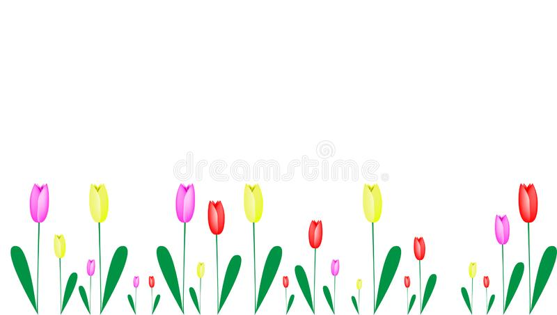 Tulips in different colours as a frame. Floral spring vector image, banner or frame with yellow, red and lilac tulips, flower background with copy space royalty free illustration
