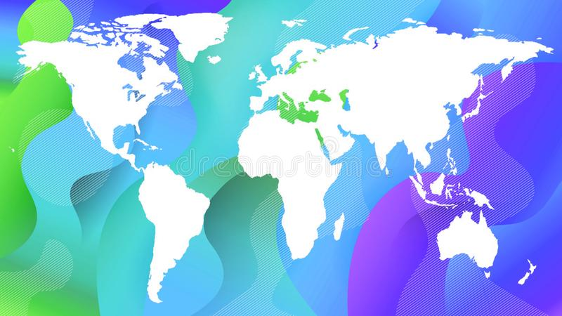 White contour of the planet map on a green and blue royalty free illustration