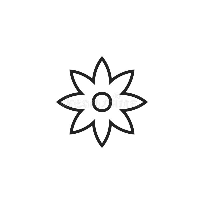Flower Outline Vector Icon, Symbol or Logo. Simple Flower Vector Illustration vector illustration