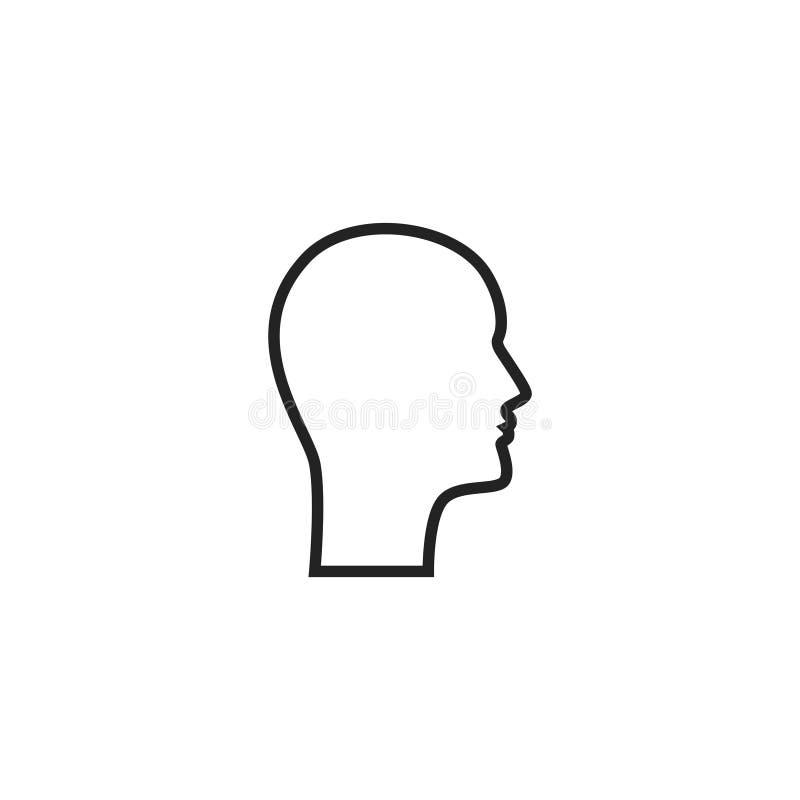 Head Profile Outline Vector Icon, Symbol or Logo. Simple Head Profile Vector Illustration vector illustration
