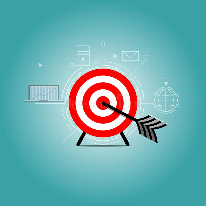 The Vector target face and arrow stock illustration