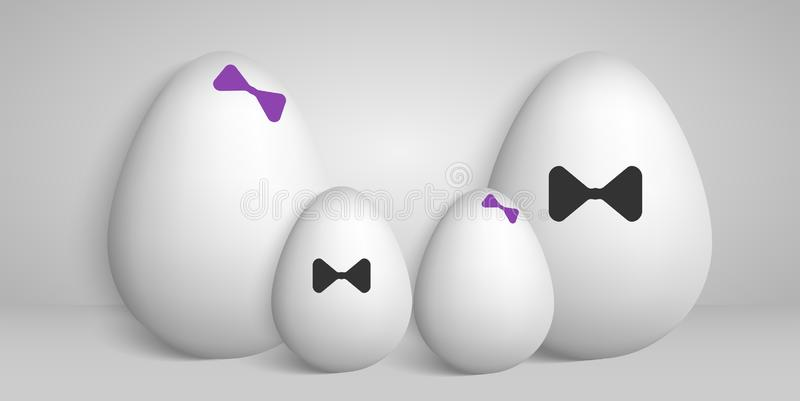 Illustration in the form of a family photo of eggs stock illustration