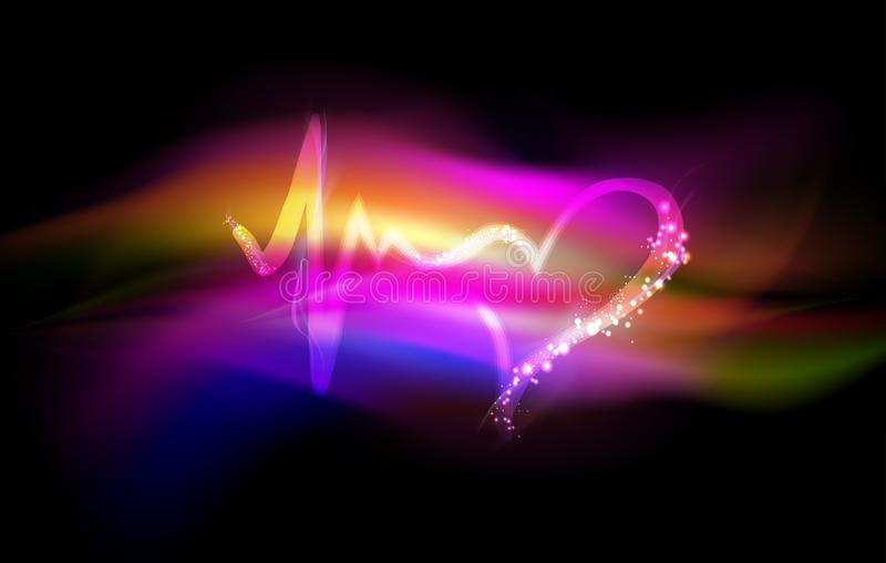 Heartbeat symbol, abstract love and life colorful background vector illustration