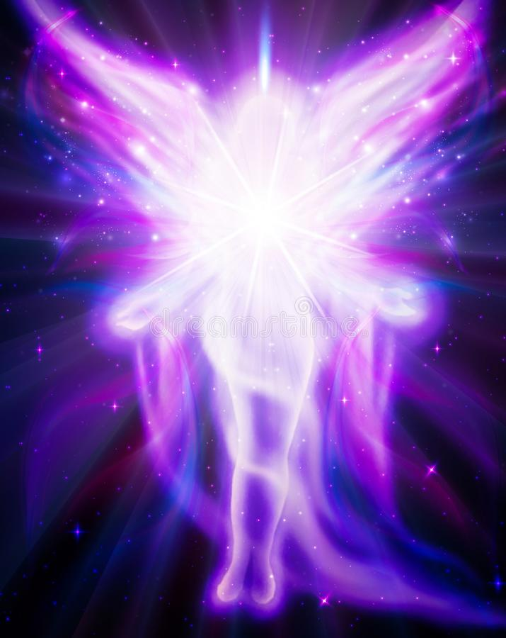 Angel of light and love doing a miracle stock illustration