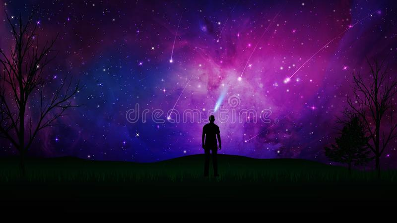 Stargaze, connection with the Universe, man silhouette on a field. Night dramatic sky, blue and purple sky with stars and meteor shower. Man silhouette standing royalty free illustration