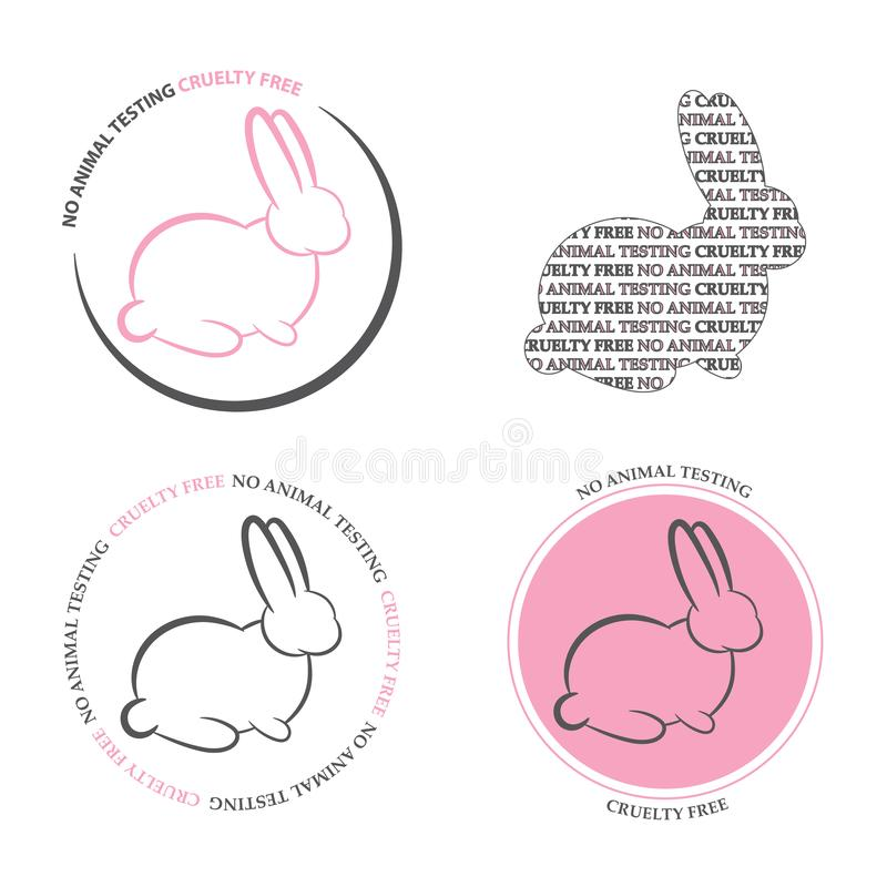 Set of 4 `no animal testing icons`. Animal cruelty/ testing icons with bunny and text `no animal testing`/ `cruelty free` in pink stock illustration