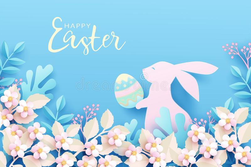 Happy Easter festive background. Cute bunny in spring nature holds an easter egg in its paws. stock illustration