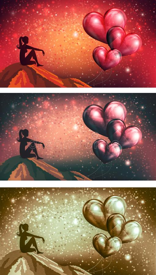 Thinking of love, dreaming of love, lost heart concept royalty free illustration