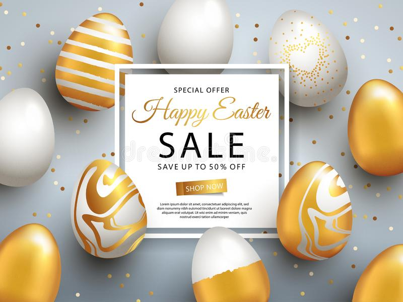 Easter Sale banner design with square frame, gold ornate eggs and confetti. vector illustration