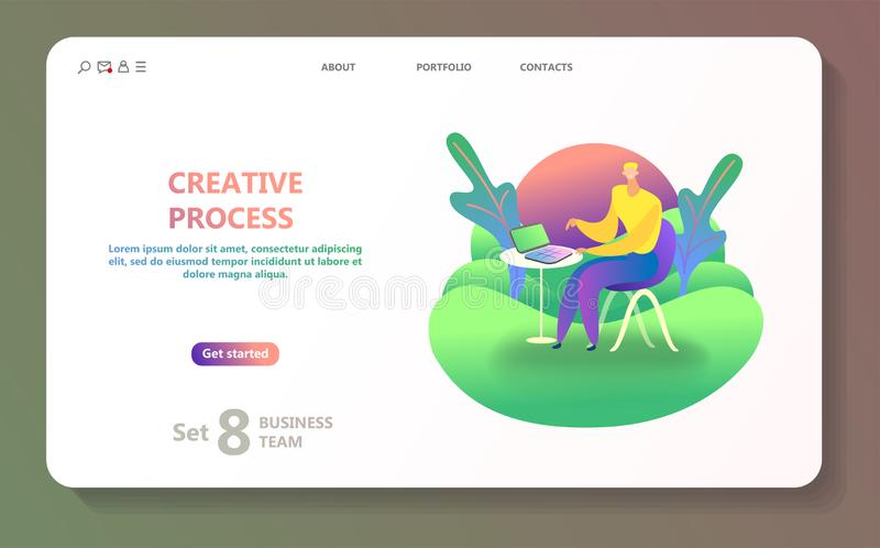 Business landing page template. stock illustration