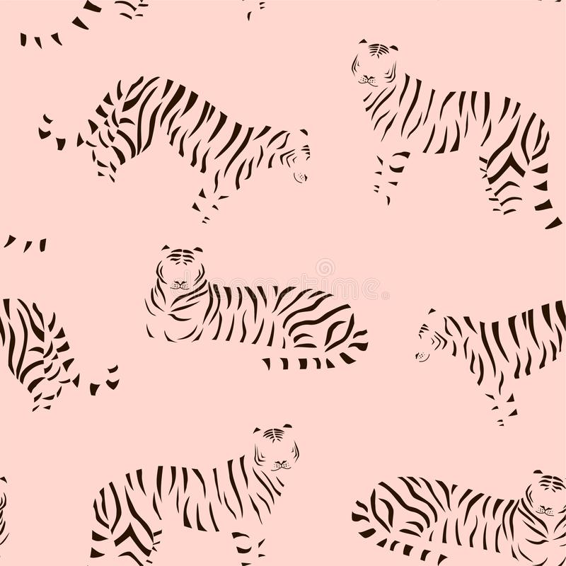 Abstract tiger pattern. Vector seamless texture. Trendy Illustration. royalty free illustration