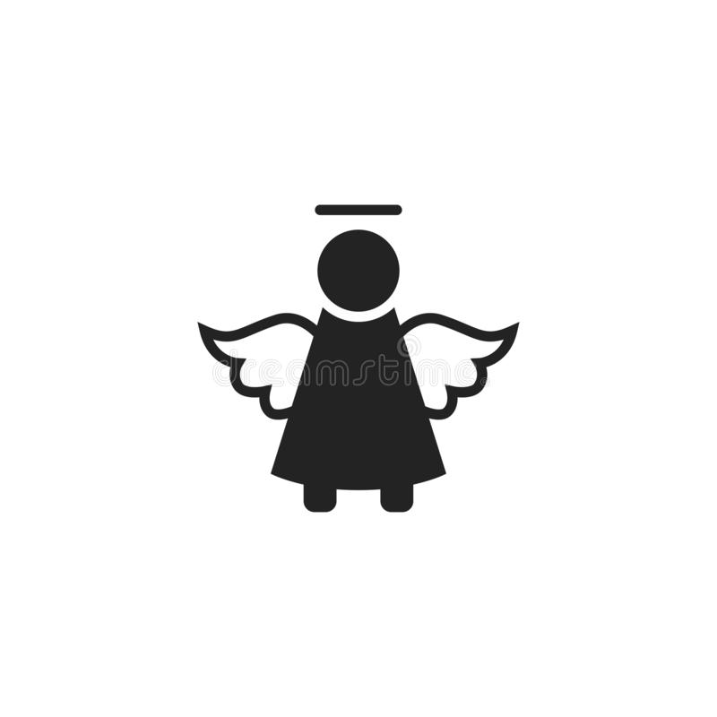 Angel Glyph Vector Icon, Symbol or Logo. royalty free illustration
