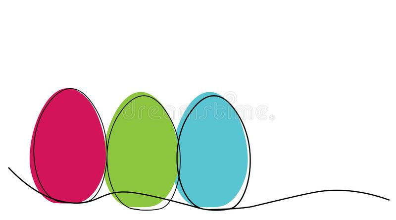 Happy easter card with easter eggs line draw, vector illustration stock illustration