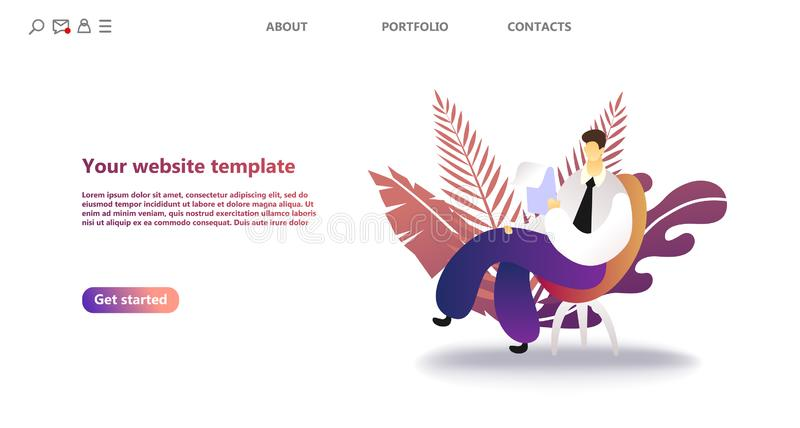 Business landing page template. royalty free illustration