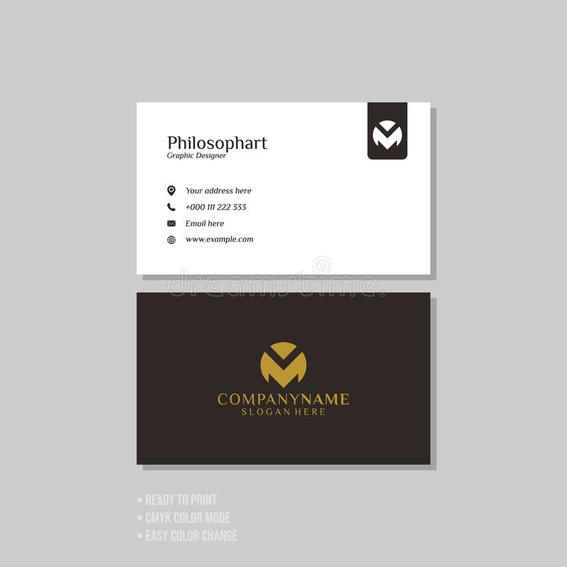 Professional modern simple business card template stock illustration
