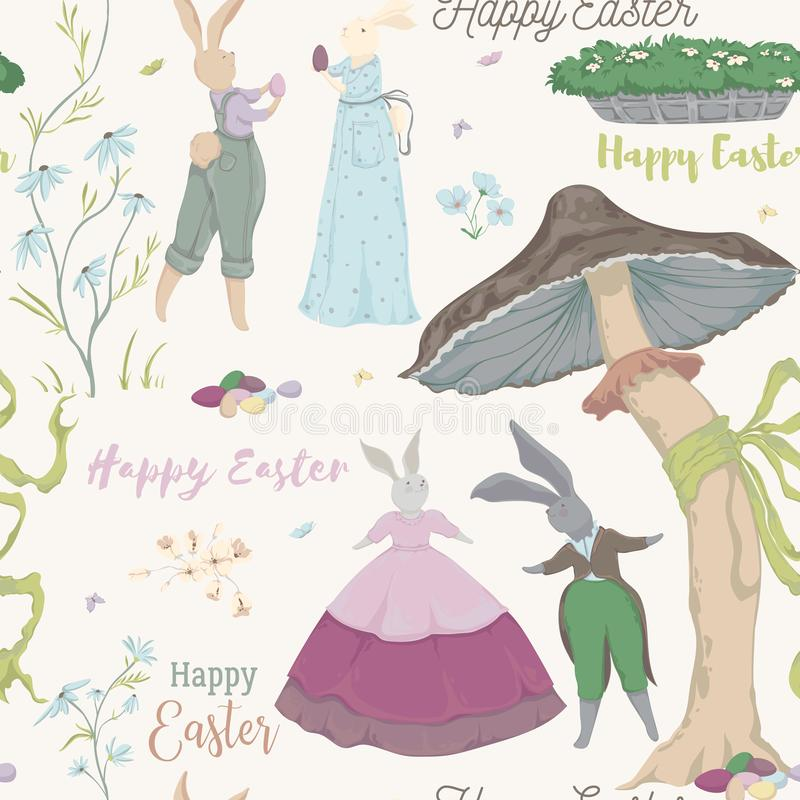 Vintage seamless pattern with bunny characters and design elements for the Easter holiday. Easter bunny, eggs, flowers, basket, mu royalty free illustration
