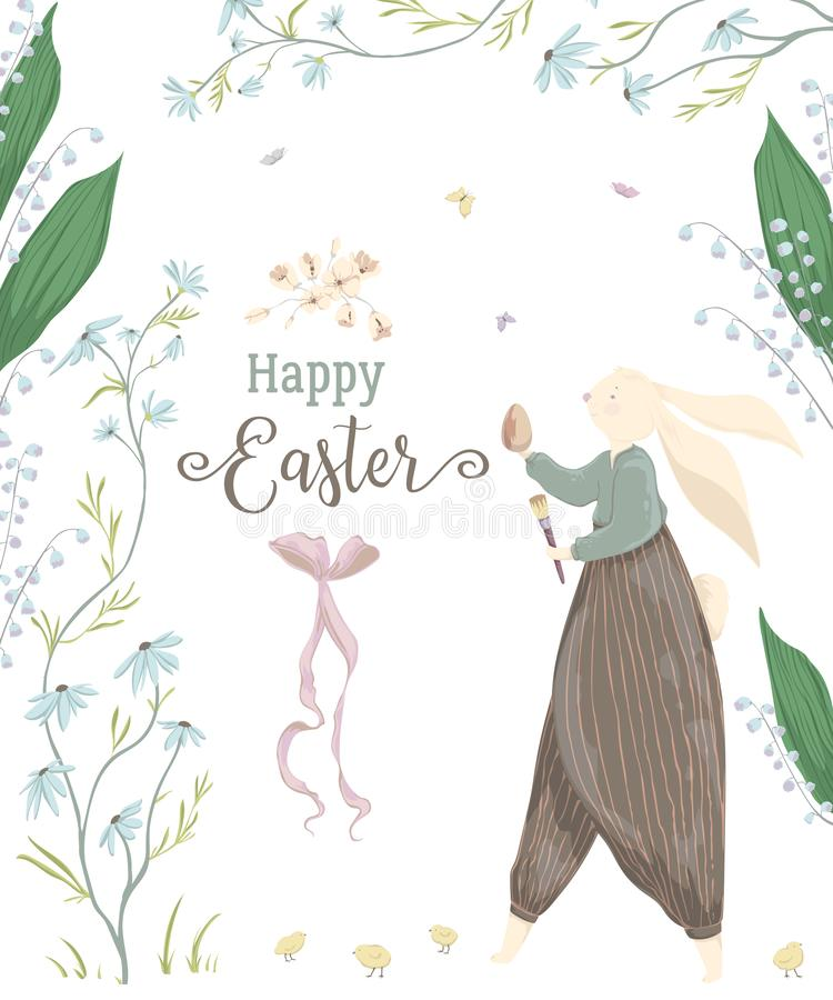 Vintage greeting card with bunny character and design elements for the Easter holiday. Easter bunny, egg, daisy and lily of the va royalty free illustration