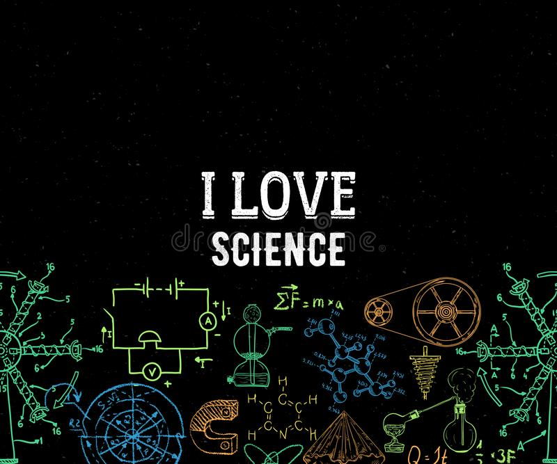 Download I Love Science, Pattern With Square Frame Stock Vector ...