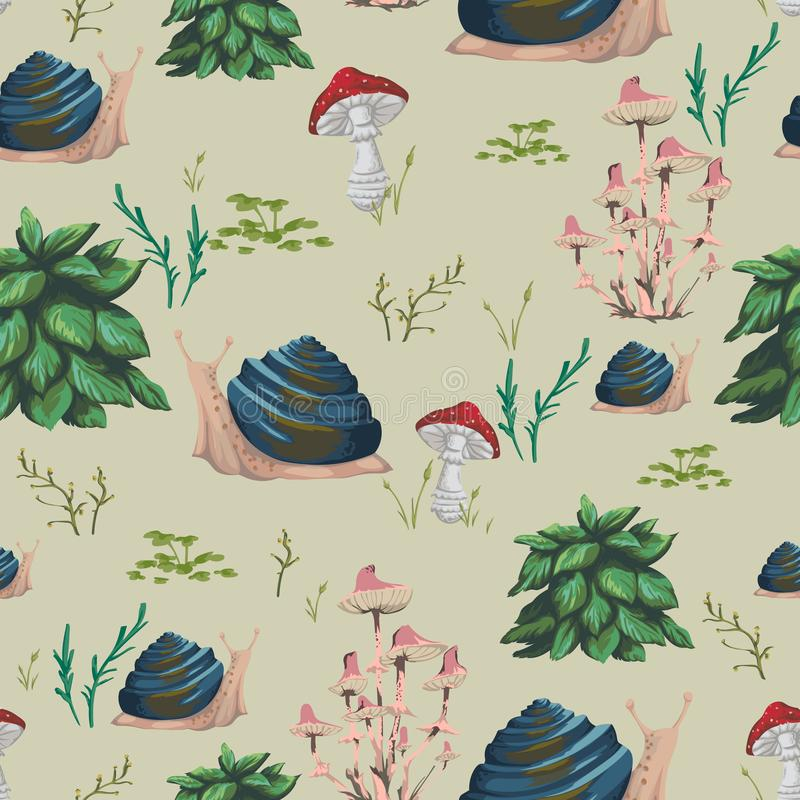 Seamless pattern with snail, plants, leaves and mushrooms. Design in watercolor style for greeting card, invitation, baby shower p vector illustration