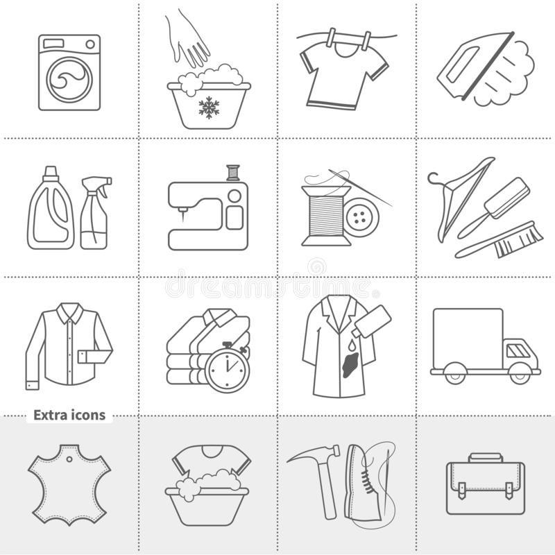 Dry cleaning laundry and cloth washing service vector linear icons labels, logos. Drying, ironing, washing machine, stain removing, hanger, leather handbag vector illustration