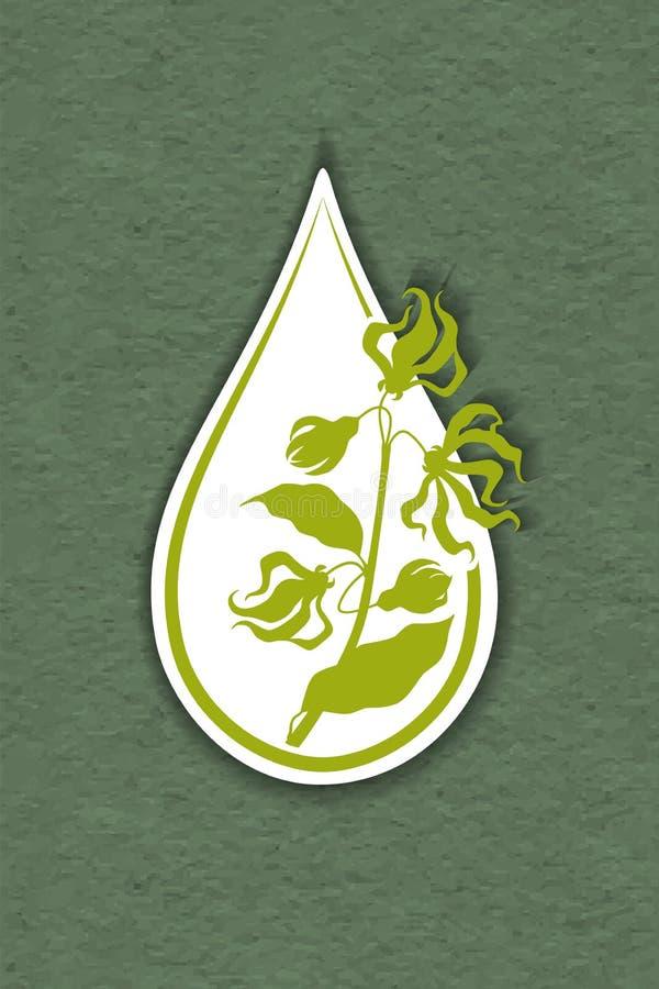 Drop of ylang ylang flower essential oil logo - cananga tree. Aromatherapy, perfumery, cosmetics, spa logo. raft paper textured stock illustration