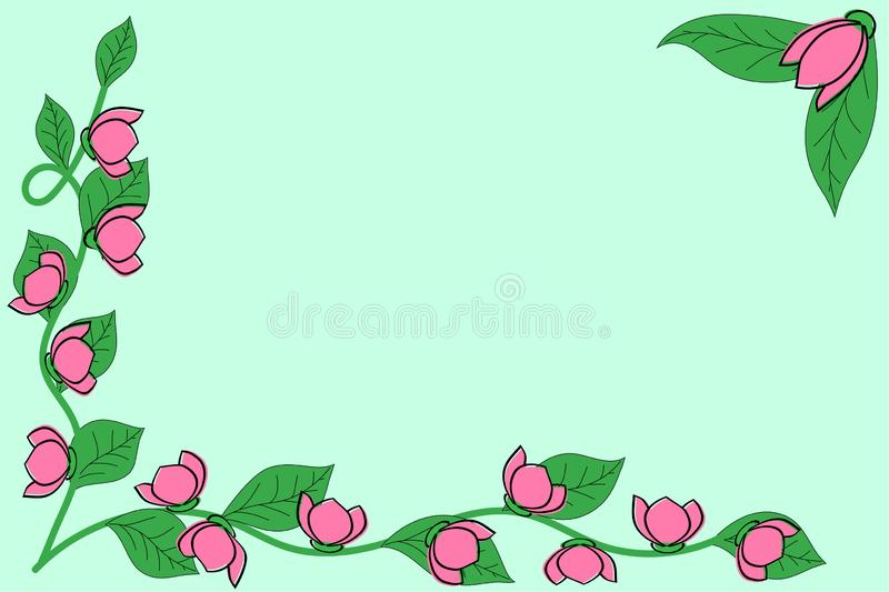 Card with blooming roses on a green background, banner, template.  stock illustration