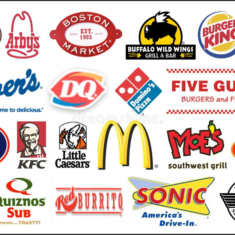 Fast Food Chain Logo Collection. Editorial vector illustration isolated on a white background stock illustration