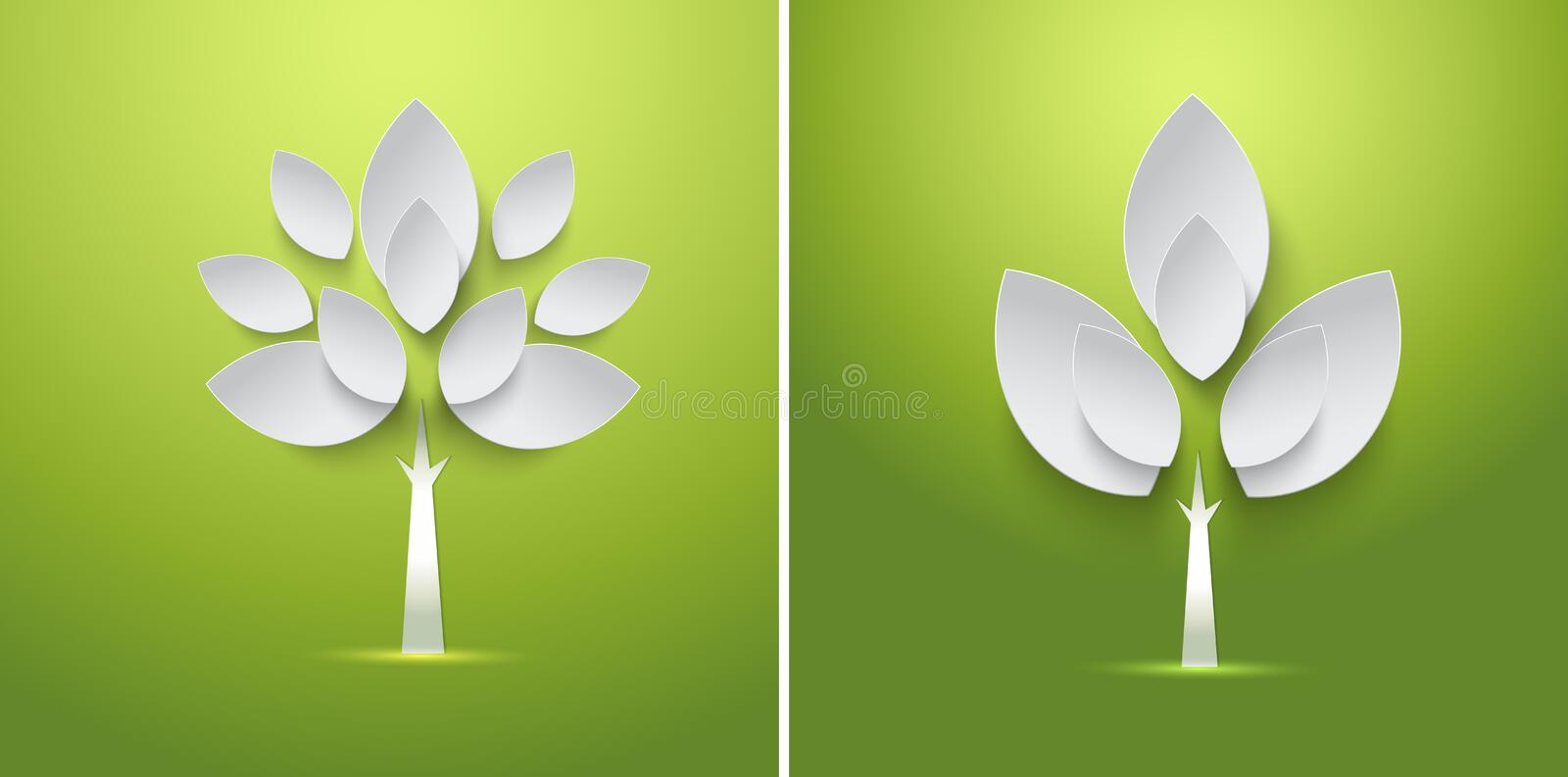 Abstract paper spring tree with leaves card royalty free illustration