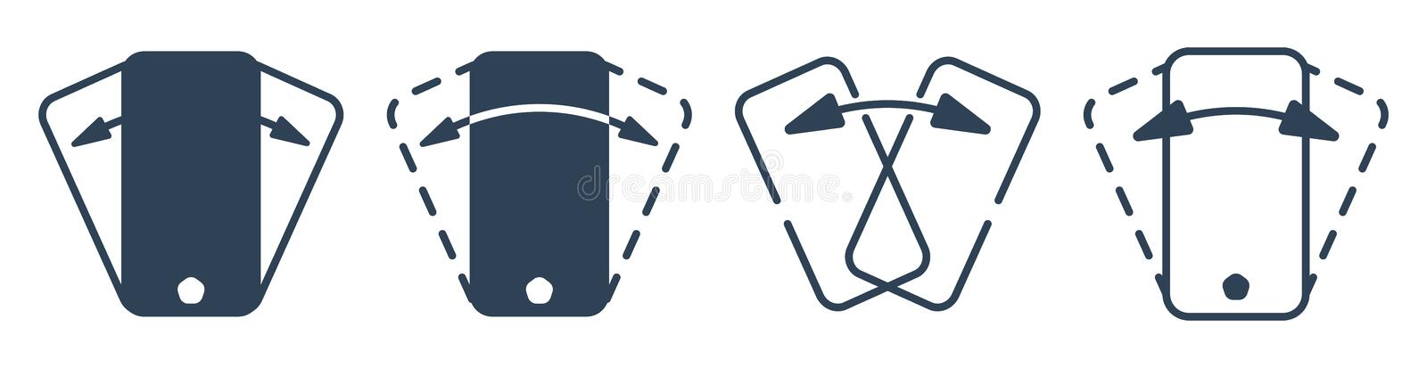Smartphone shaking outline vector icon set royalty free illustration