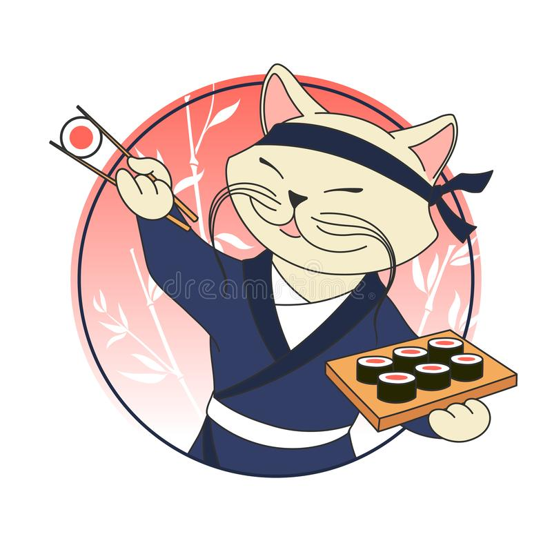 Kawaii cartoon cat chief with sushi rolls and chopsticks. Sushi bar or restaurant vector logo template. Japanese traditional cuisine, Korean, Chinese, Asian vector illustration