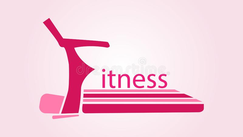 Logo with the word fitness in the form of a pink treadmill vector illustration