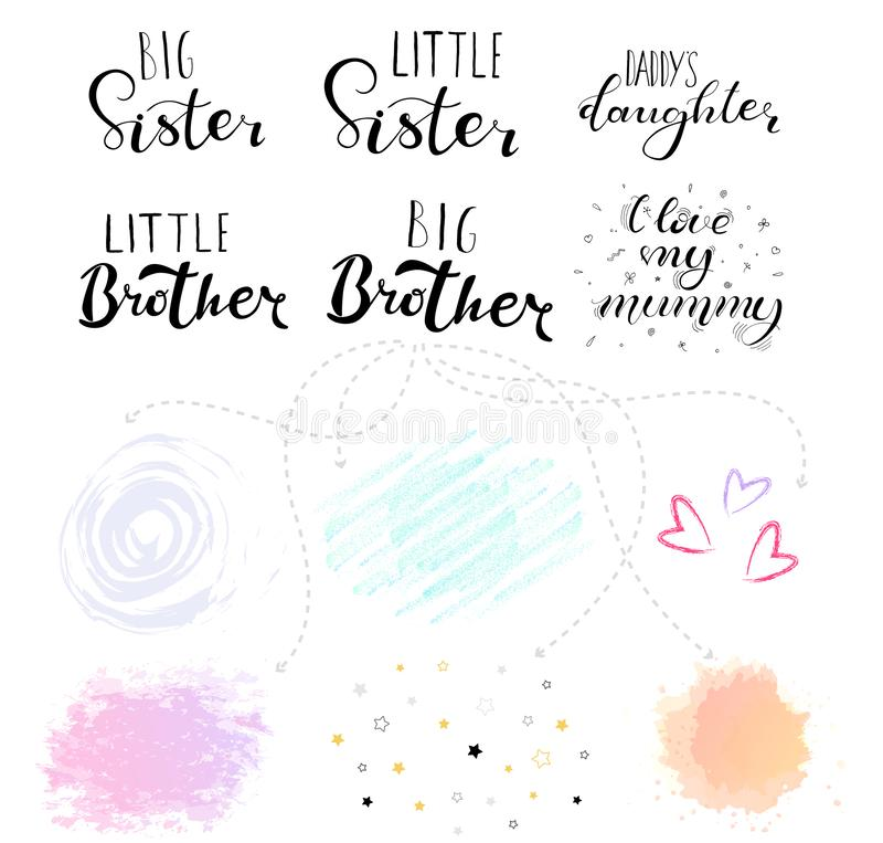 Little big sister, brother. Lettering for babies clothes. Little big sister, brother. Set Lettering for babies clothes, t-shirts and nursery decorations bags stock illustration