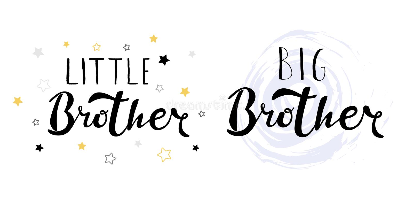 Little big brother. Lettering for babies clothes. T-shirts and nursery decorations bags, posters, invitations, cards, pillows. Brush calligraphy isolated on royalty free illustration